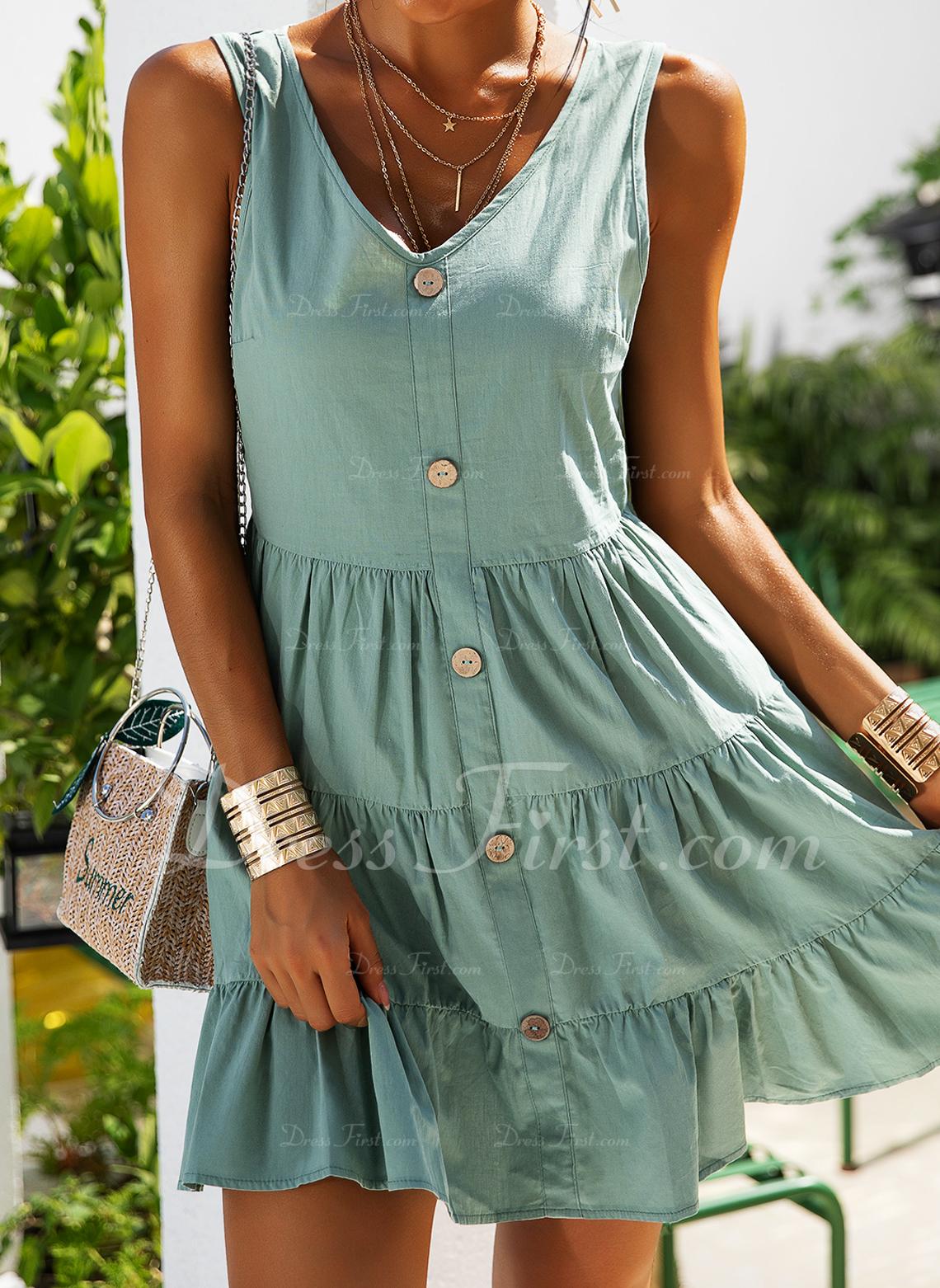 Solid Bir Çizgi Kolsuz Mini gündelik Tatil Patenci Moda Elbiseler