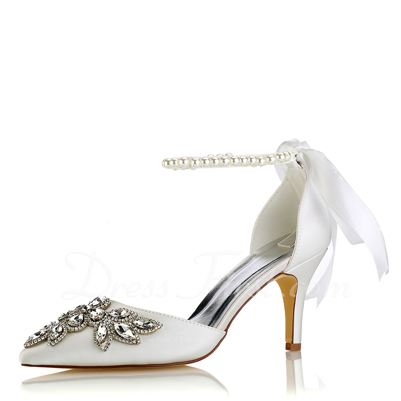 252557c3cd86 Loading zoom. Loading. Color  Ivory. Women s Silk Like Satin Stiletto Heel  Pumps With Crystal ...
