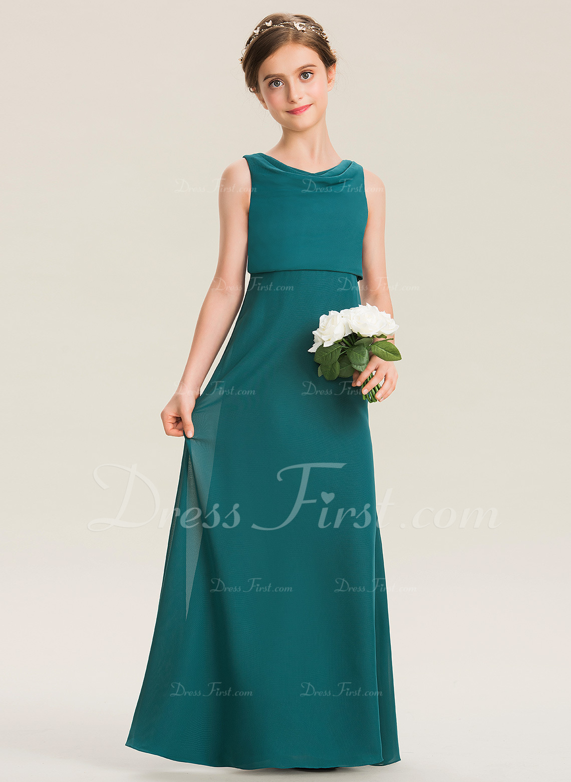 3a2489d3f96 Loading zoom. Loading. Color  As Picture. A-Line Cowl Neck Floor-Length  Chiffon Junior Bridesmaid Dress With Ruffle (009173295)