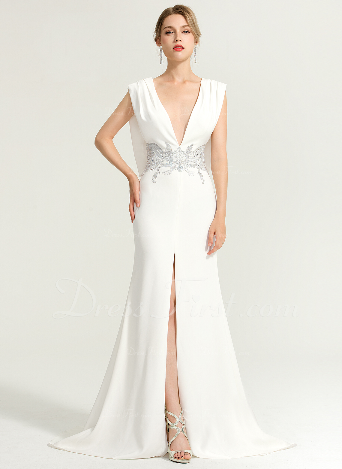 b0ce25e319ddd Loading zoom. Loading. Color: Ivory. Trumpet/Mermaid V-neck Sweep Train  Jersey Evening Dress With Beading ...
