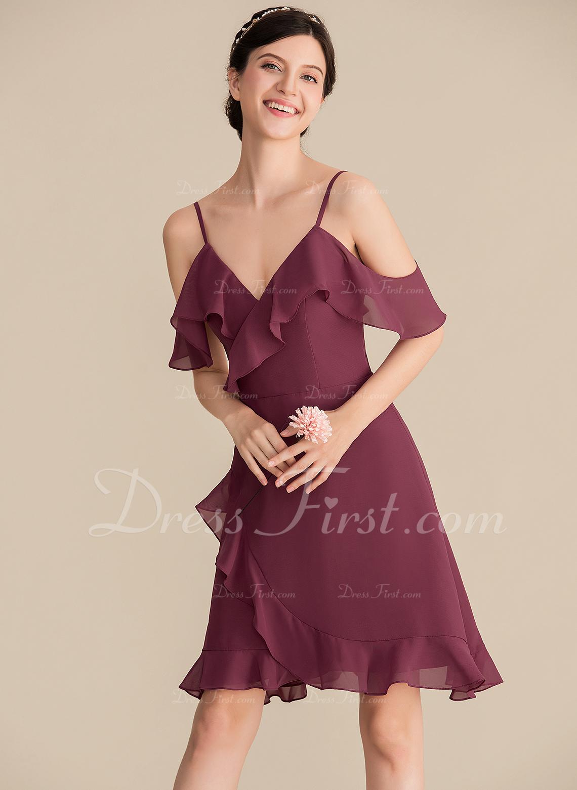 A-Line V-neck Knee-Length Chiffon Bridesmaid Dress With Cascading Ruffles