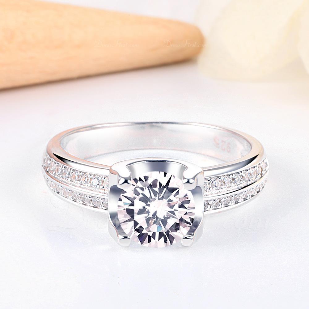 Sterling Silver Cyrkonia Delicje Okrągłe Cięcie Pierścionek zaręczynowy Krążki Obietnica