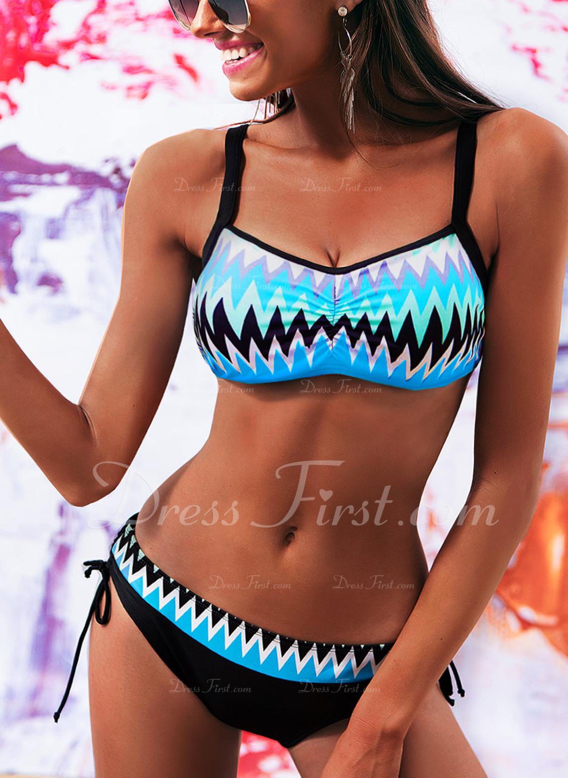 Bikinis poliéster Del spandex Color de empalme PARTE SUPERIOR De mujer Sí Ropa de baño