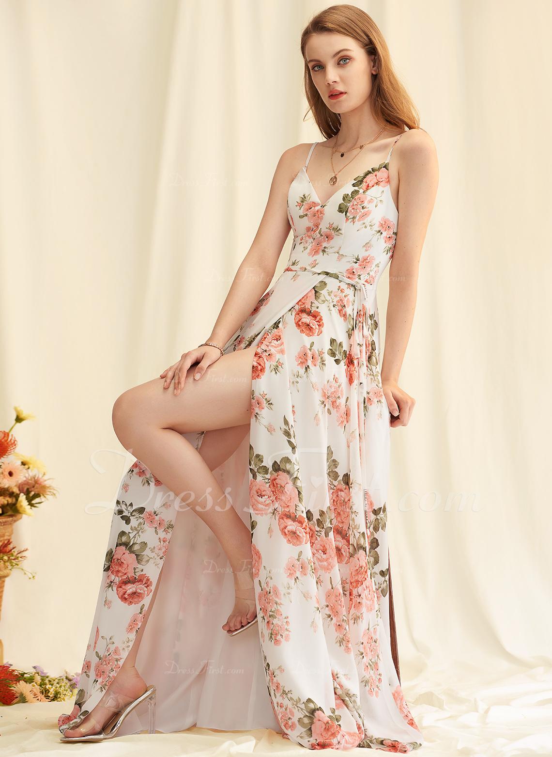 V-neck Other Colors Chiffon Dresses