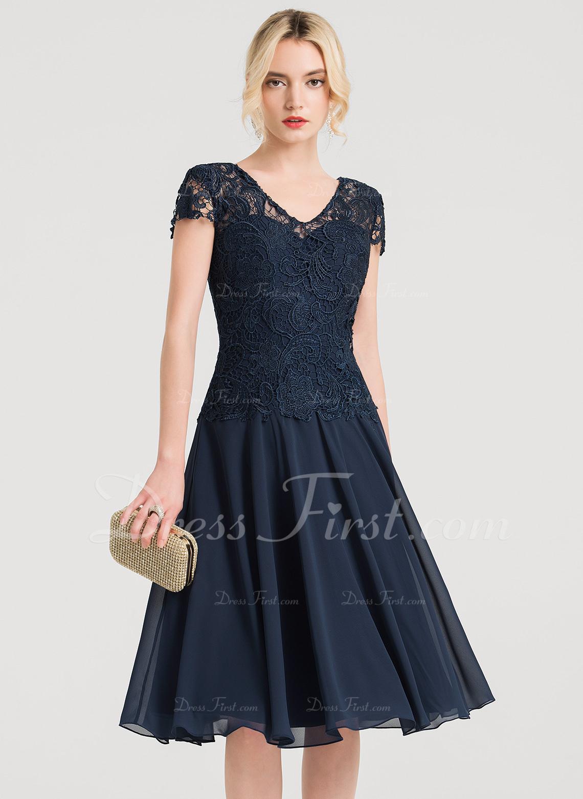 A-Line V-neck Knee-Length Chiffon Cocktail Dress