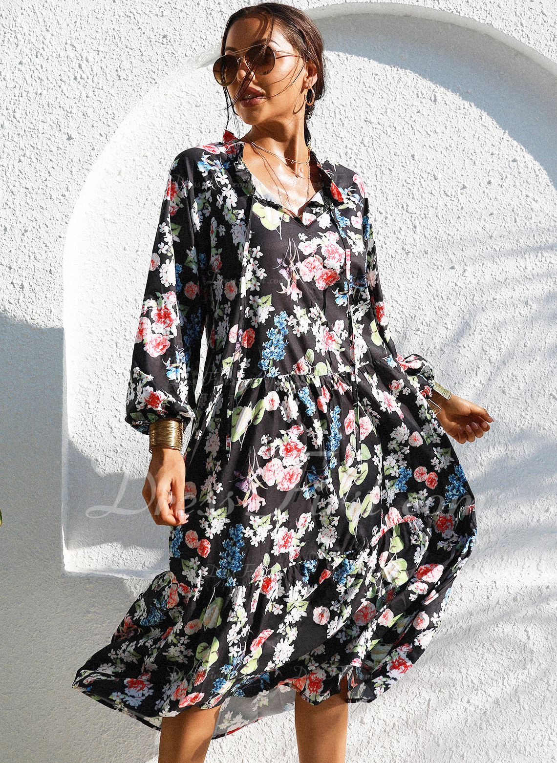 Floral Print A-line 1/2 Sleeves Midi Casual Vacation Skater Dresses