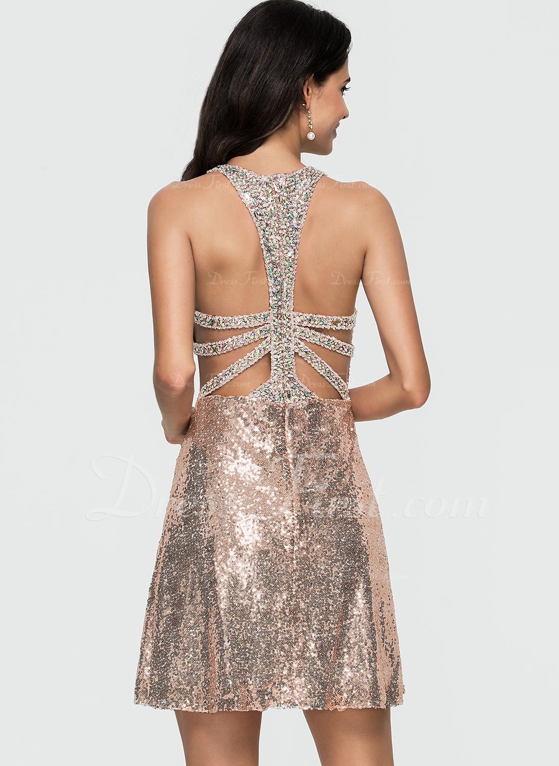 Vestidos princesa/ Formato A Decote redondo Curto/Mini Lantejoulas Vestido de boas vindas com Beading