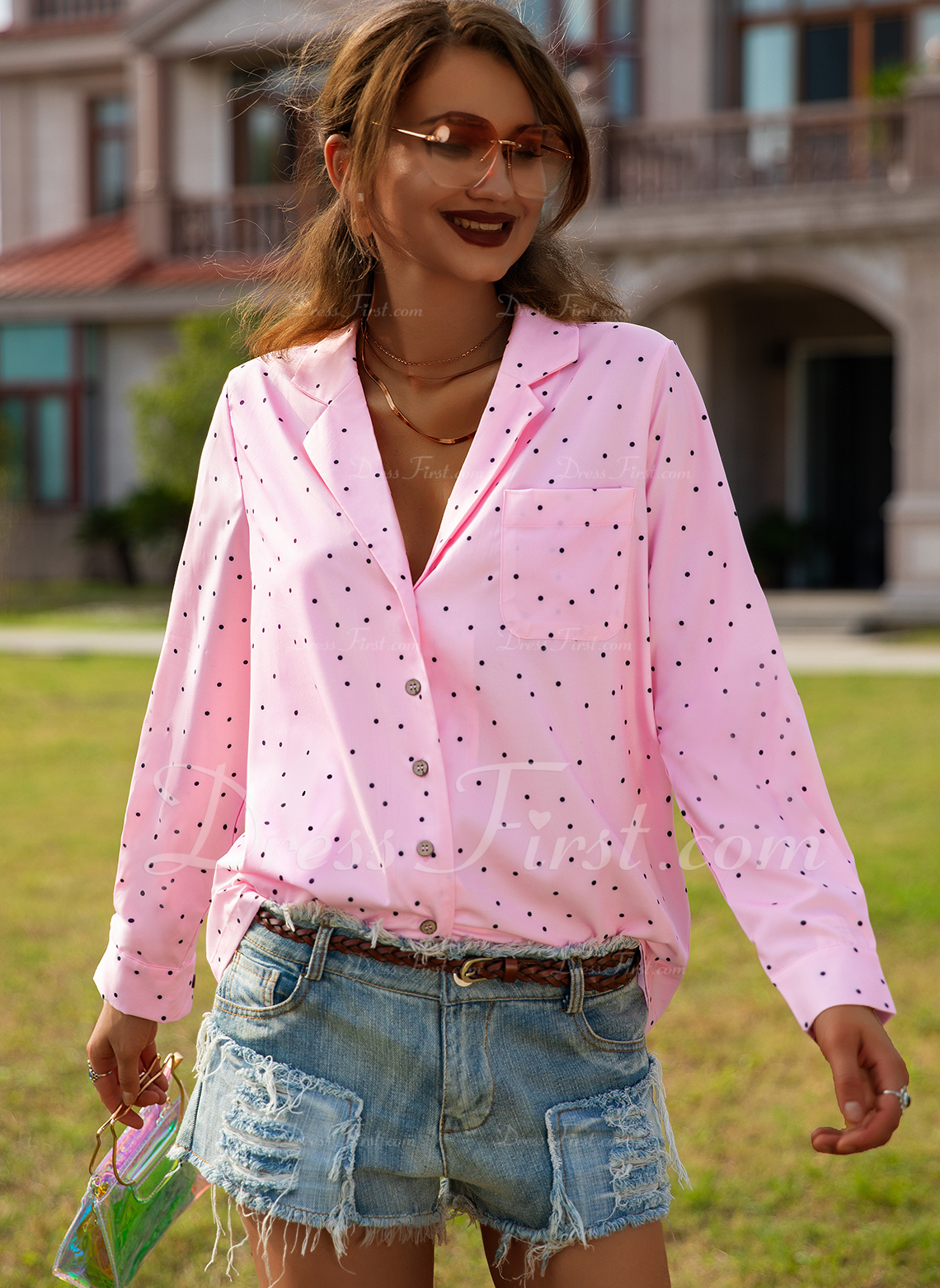 A pois Stampa Risvolto Maniche lunghe Bottone Casuale Shirt and Blouses
