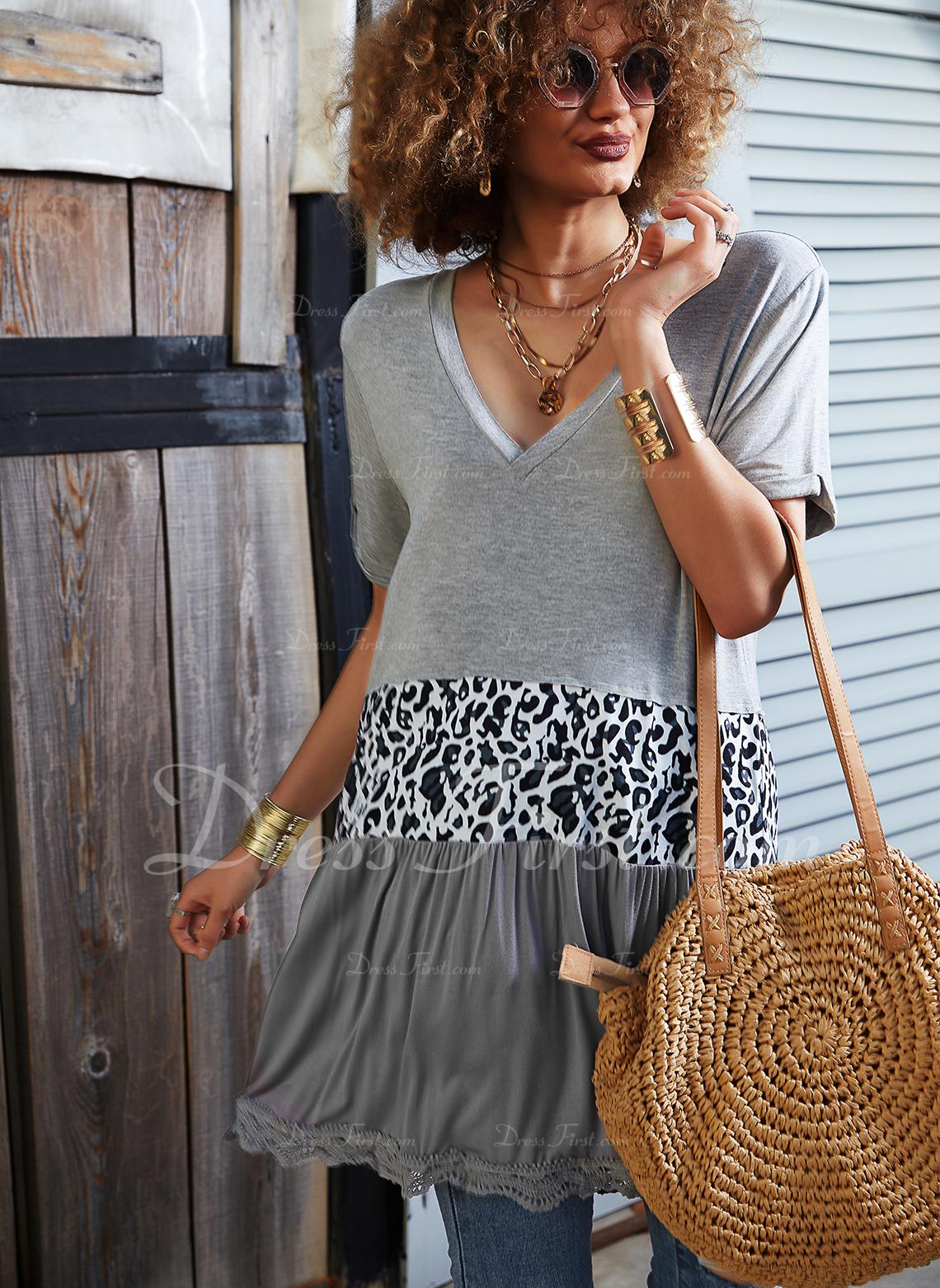 Leopard Color Block V-hals Korte ærmer Casual Skjorter