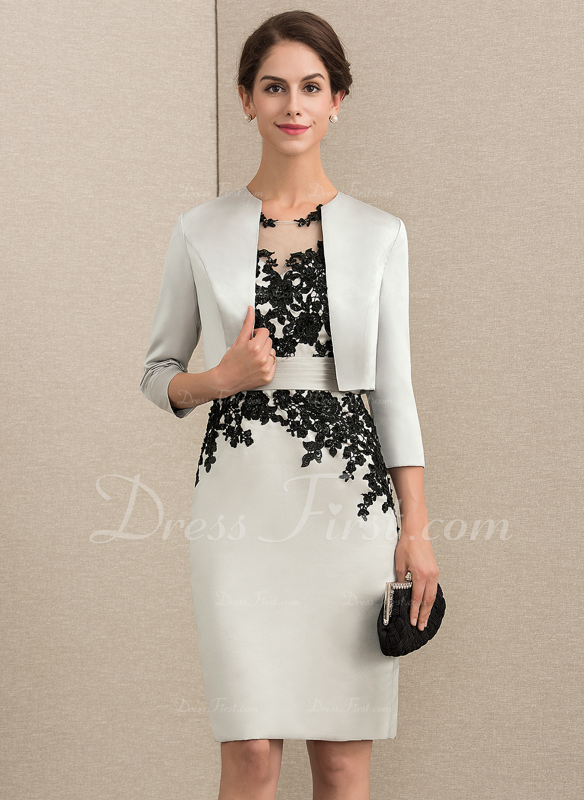 b1d6b365 Sheath/Column Scoop Neck Knee-Length Satin Lace Mother of the Bride Dress  With Beading Sequins #164096