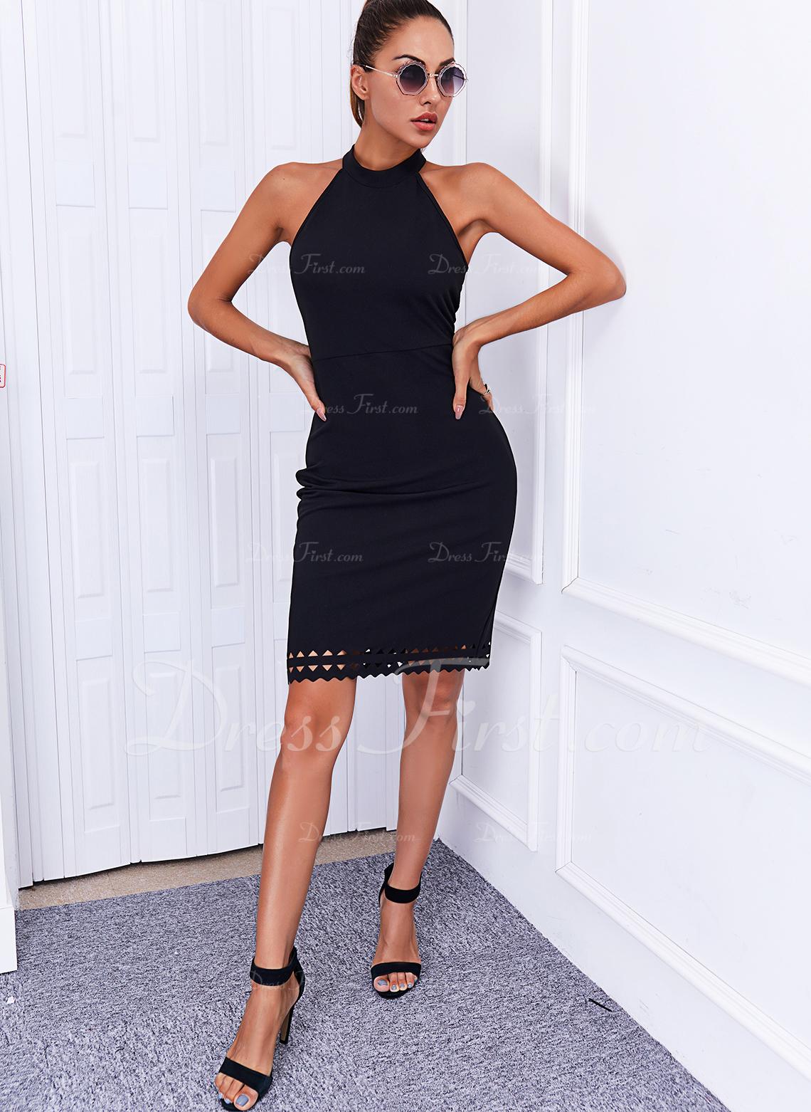 Solid Sheath Sleeveless Midi Little Black Elegant Dresses