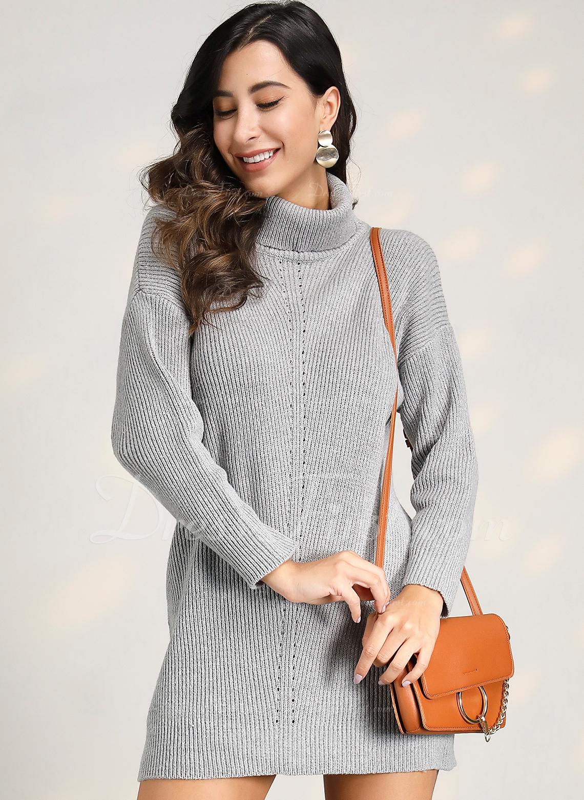 Cuello De Tortuga poliéster Mangas Largas Sólido/Punto Grueso/Acanalado Vestido de Suéter Vestidos de moda