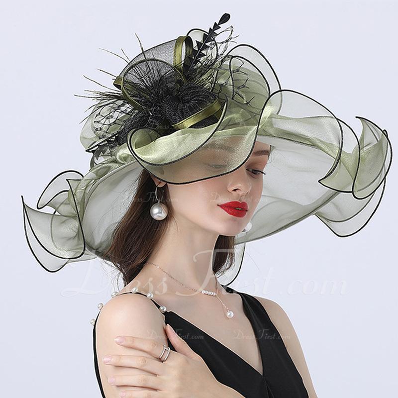 Señoras' Caliente/Romántico Organdí con Flores de seda Sombreros Playa / Sol/Sombreros Tea Party