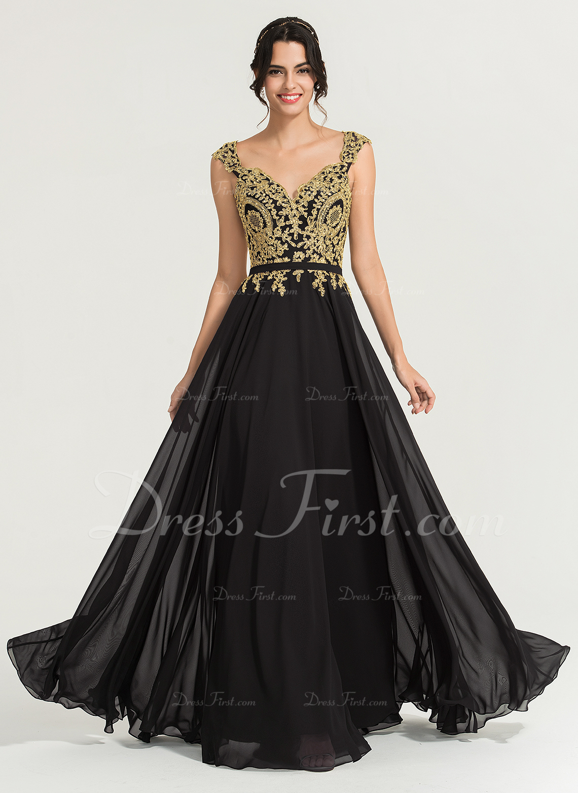 04392d2960a Loading zoom. Loading. Out of Stock. Color  Black. A-Line Princess V-neck  Floor-Length Chiffon Prom Dresses With Beading ...