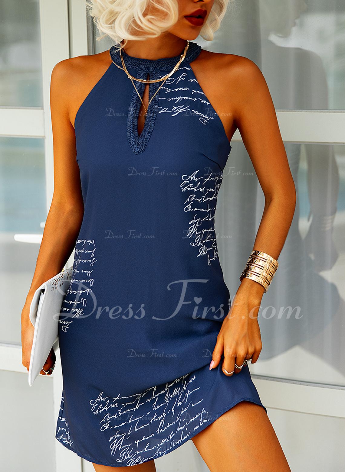 Print Shiftklänningar Ärmlös Mini Fritids Modeklänningar