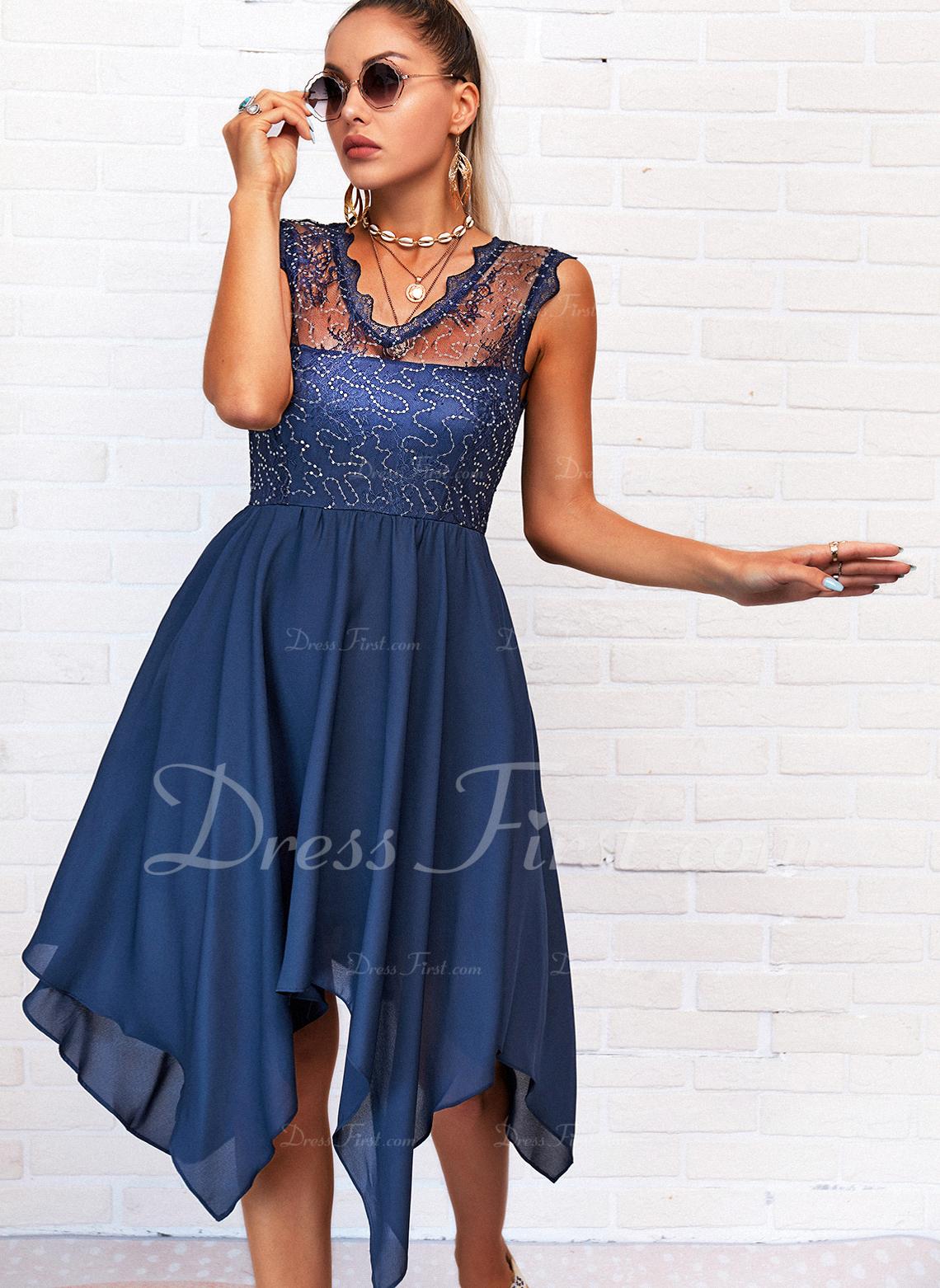 Encaje Sólido Vestido línea A Sin mangas Asimétrico Casual Patinador Vestidos de moda