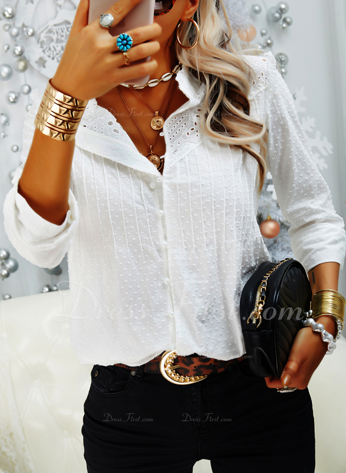 Solid V-Neck Long Sleeves Button Up Casual Elegant