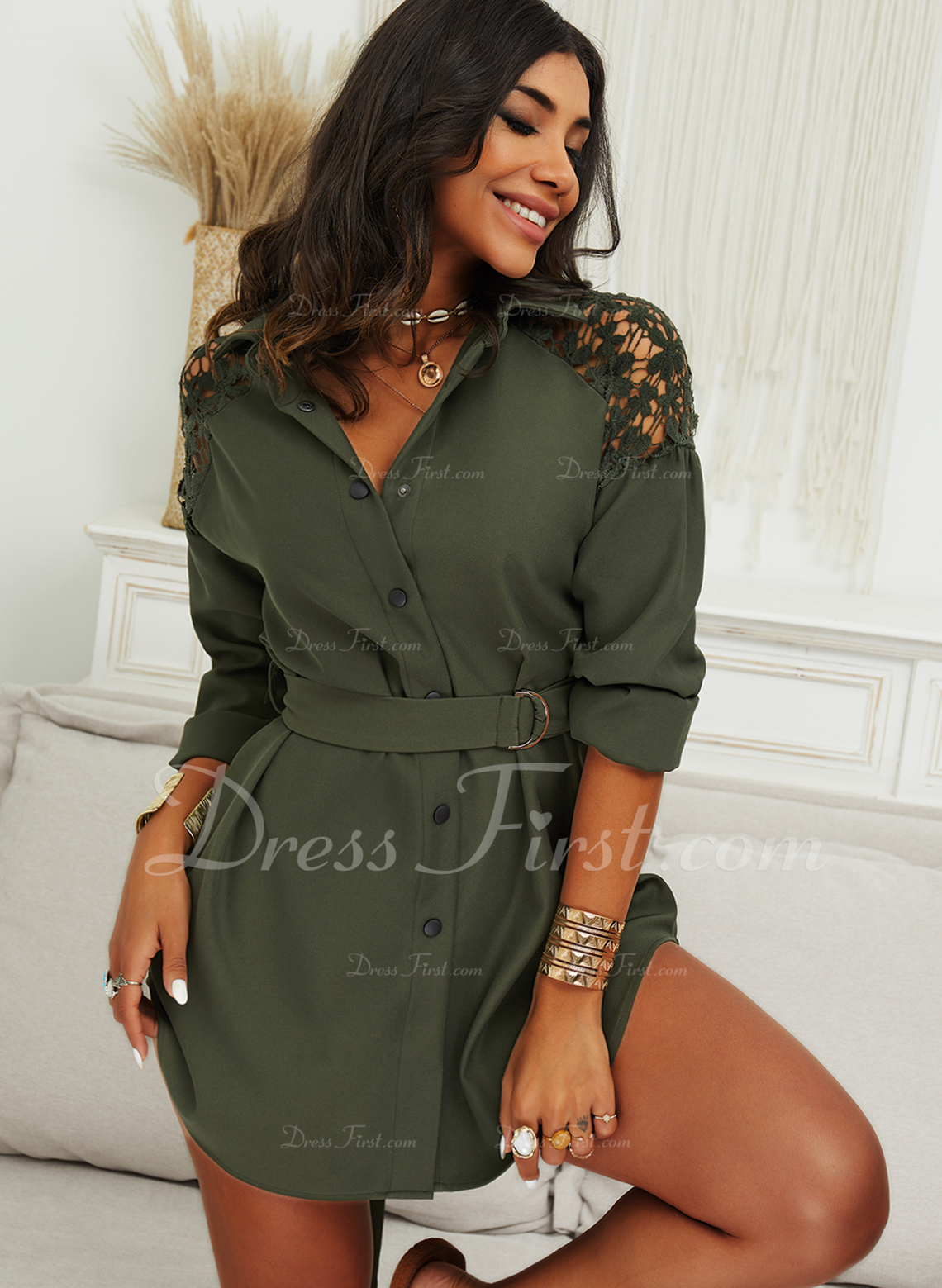 Spets Solid Shiftklänningar Långa ärmar Mini Fritids Skjortklänningar Modeklänningar