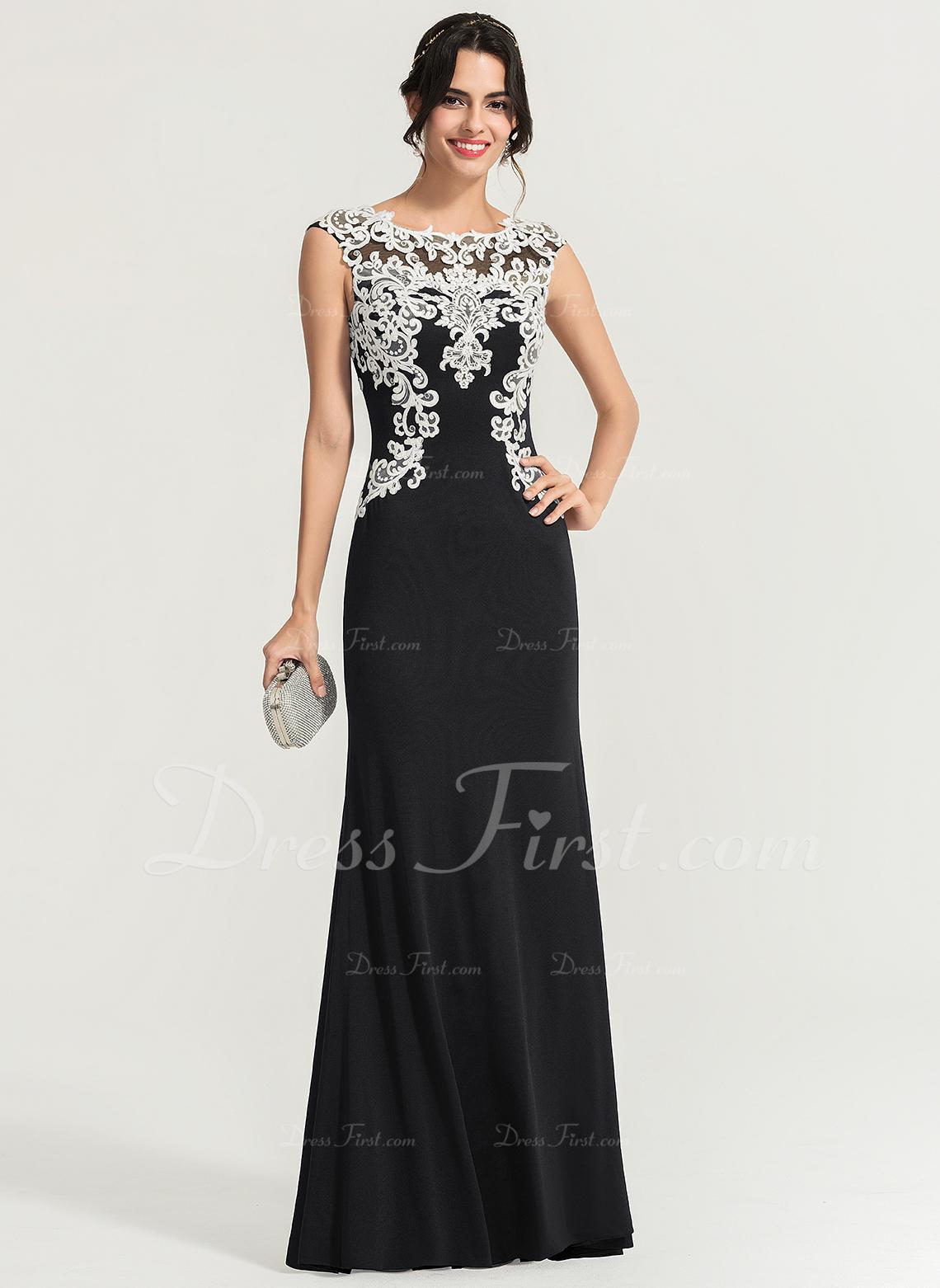 シース スクープネック マキシレングス Jersey プロム用ドレス