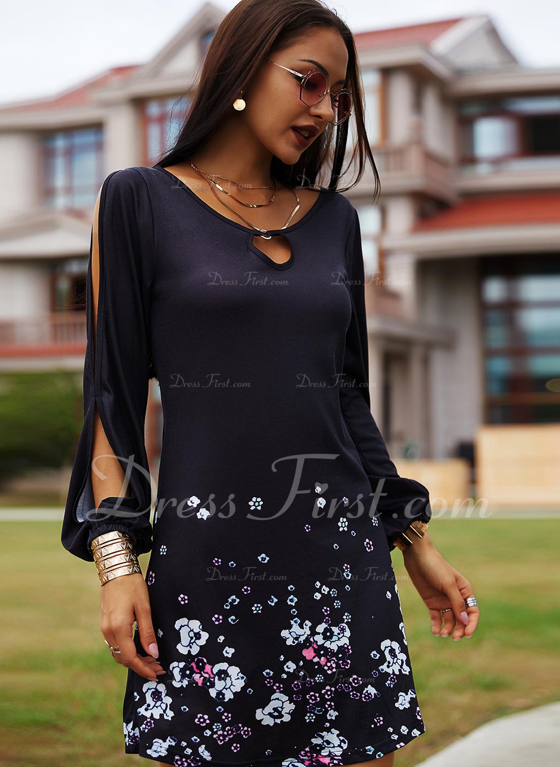 Blommig Print Shiftklänningar Kall axel Långa ärmar Mini Fritids Tunika Modeklänningar