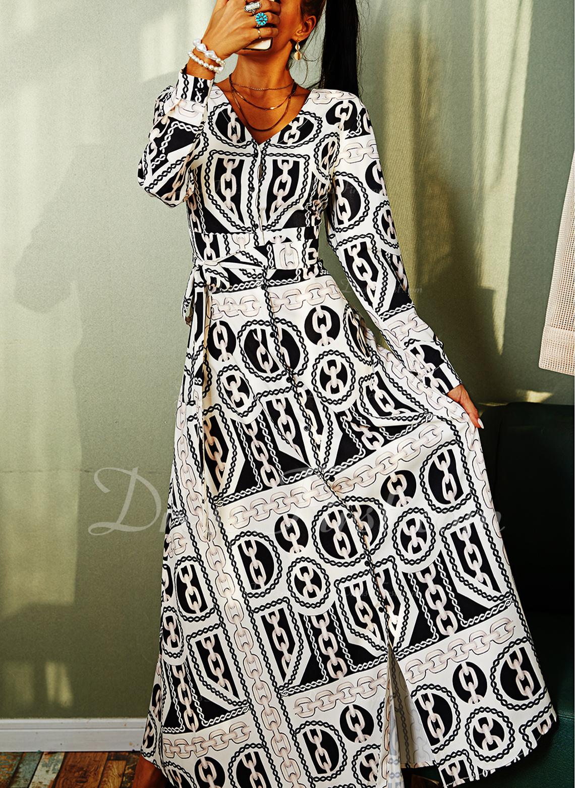 Print A-line Long Sleeves Maxi Vintage Skater Dresses