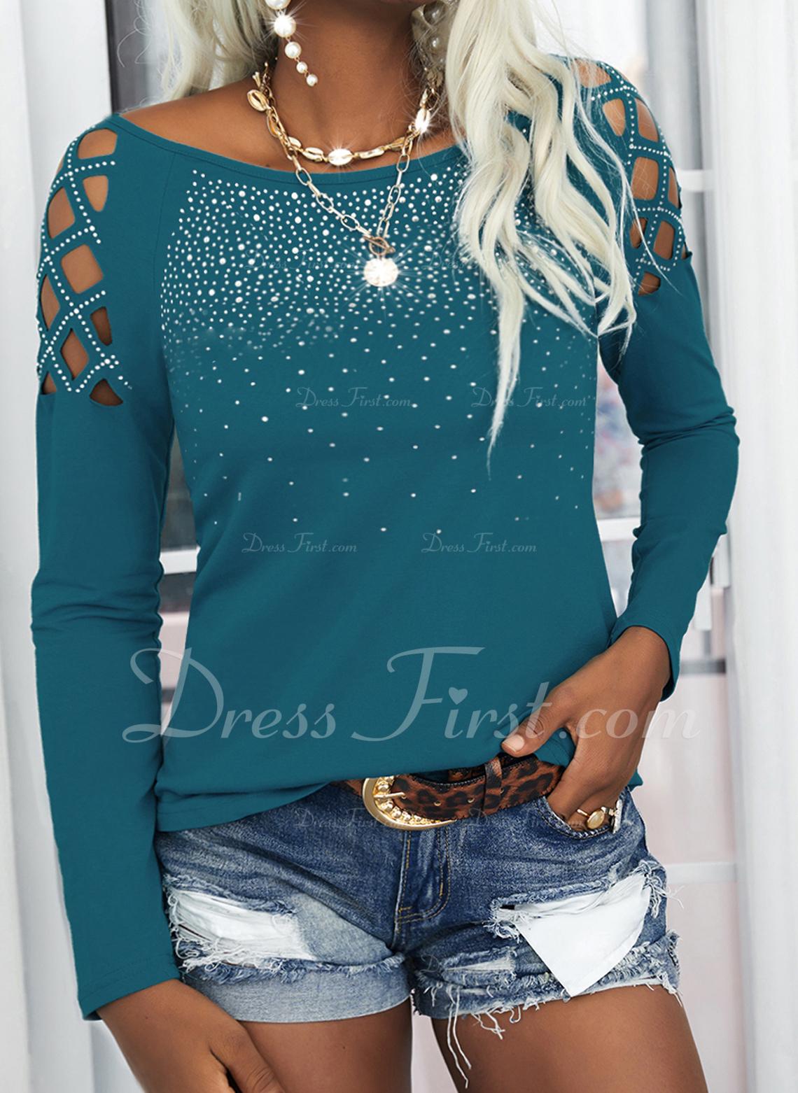 Paillettes Spalle esposte Maniche lunghe Casuale Sexy Camicie
