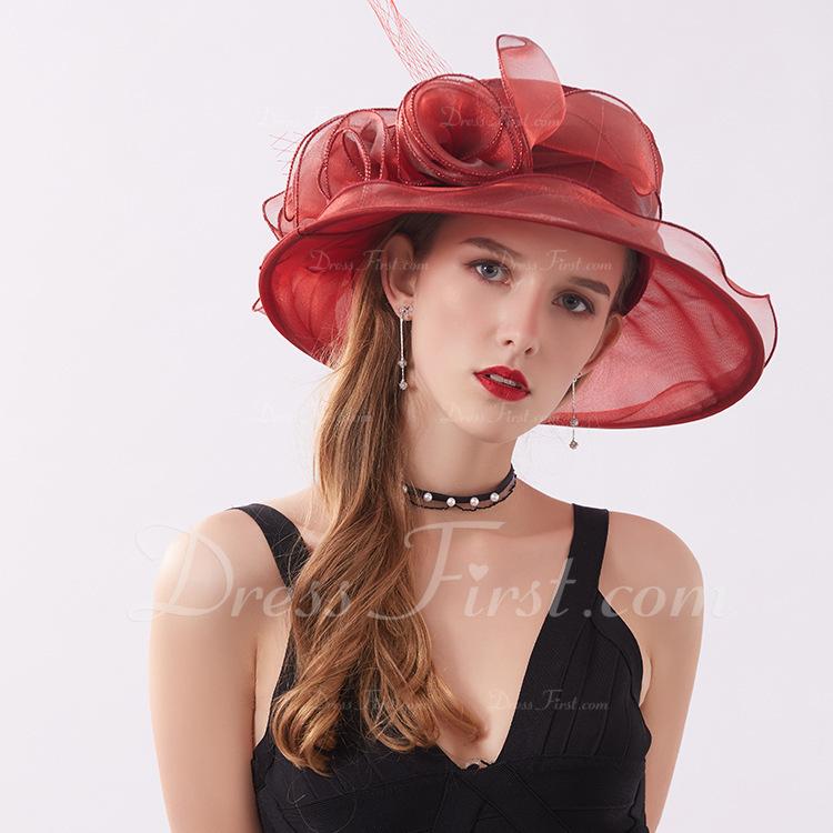 Dames Klassiek/Elegant Netto garen met Bloem Strand / Zon Hoeden/Kentucky Derby Hats/Theepartij hoeden