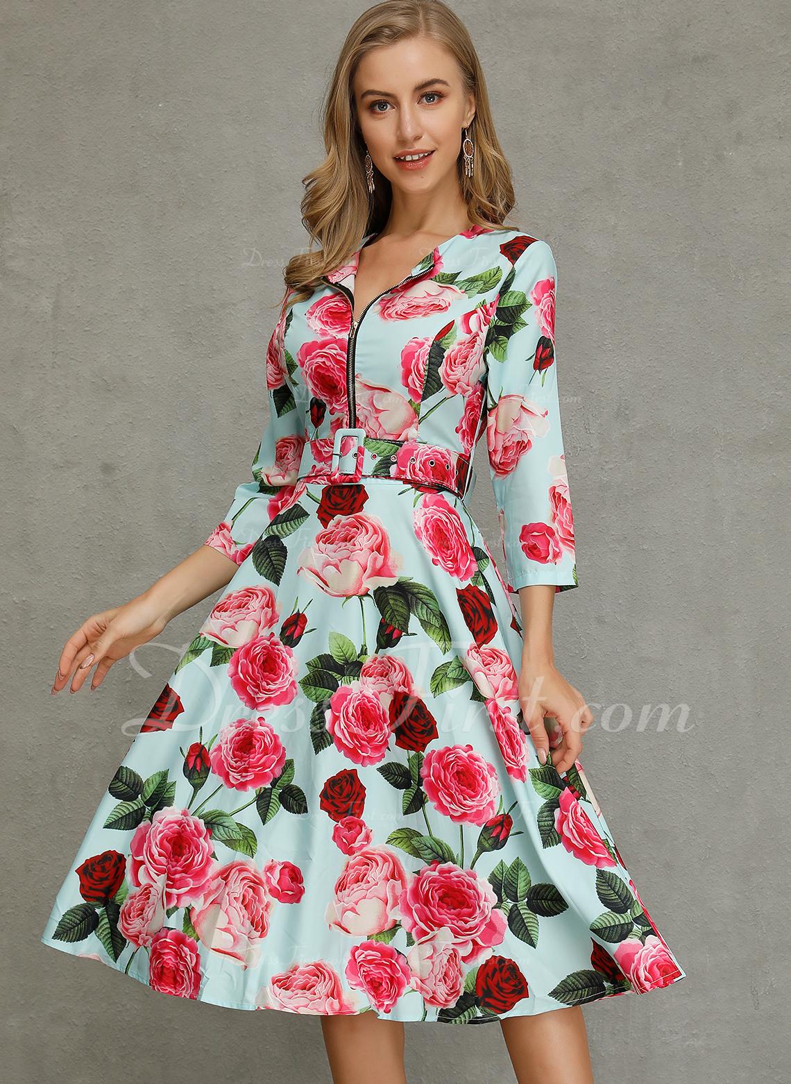 Floral Vestido línea A Mangas 1/2 Midi Casual Patinador Vestidos de moda
