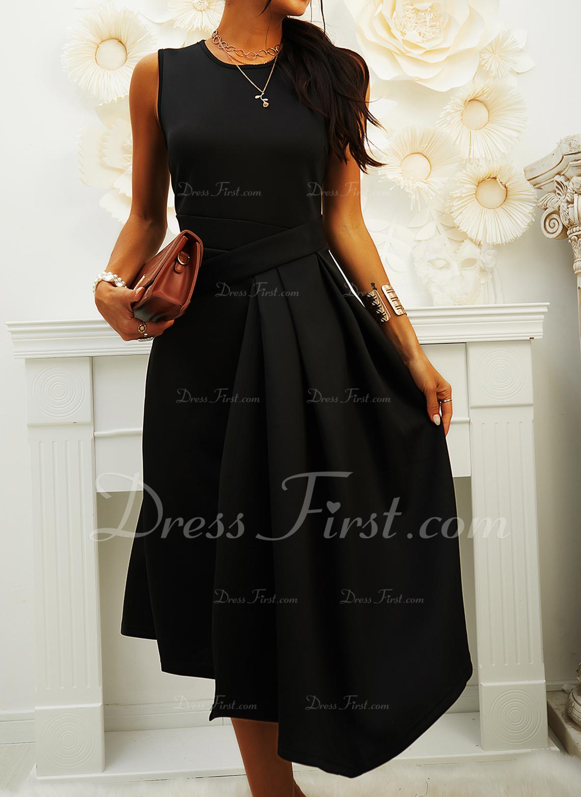 Solid A-linjeklänning Ärmlös Midi Den lilla svarta Fritids skater Modeklänningar