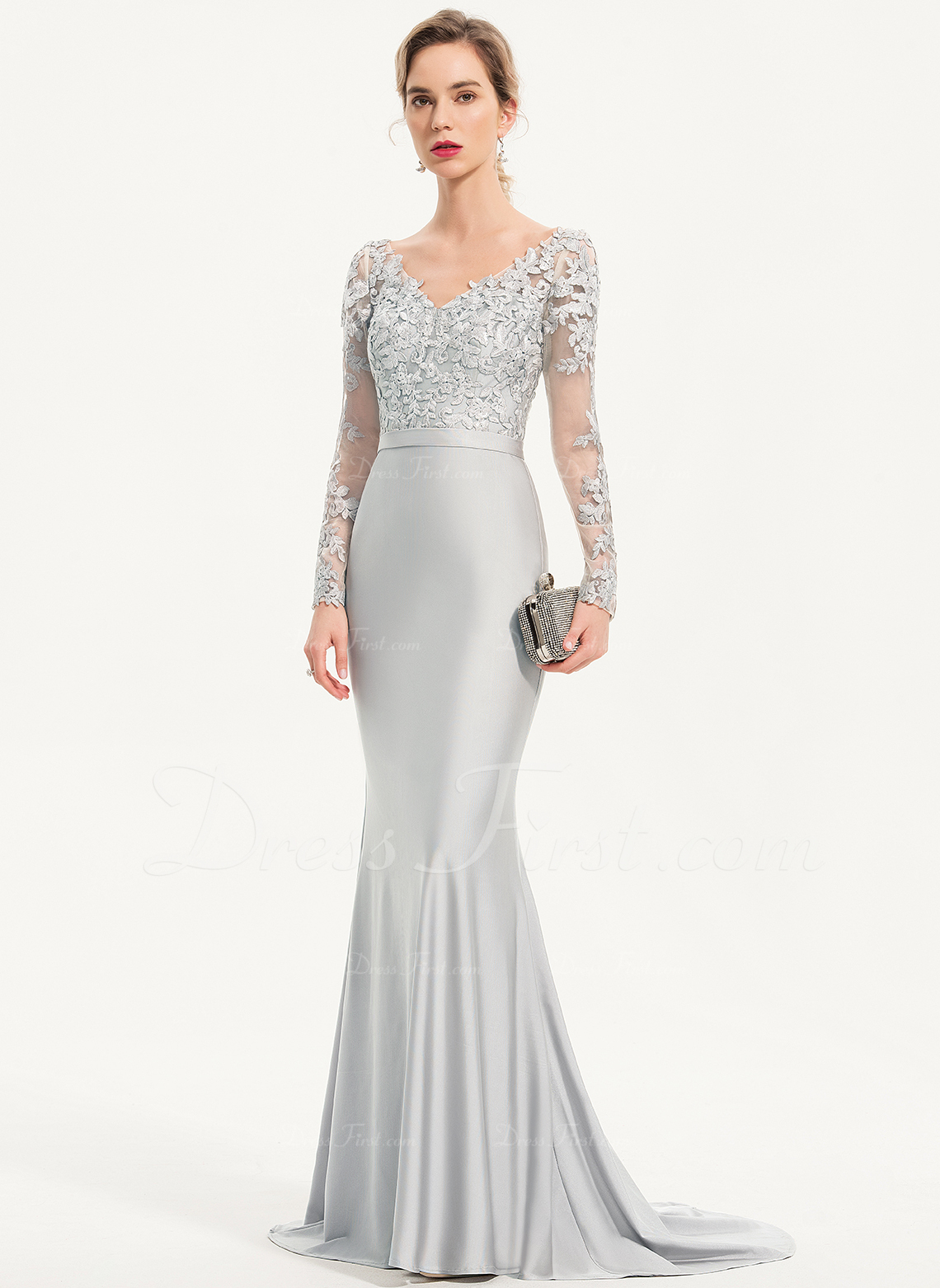 8b9b023b5ebe5 Trumpet/Mermaid V-neck Sweep Train Jersey Evening Dress With Sequins #186145