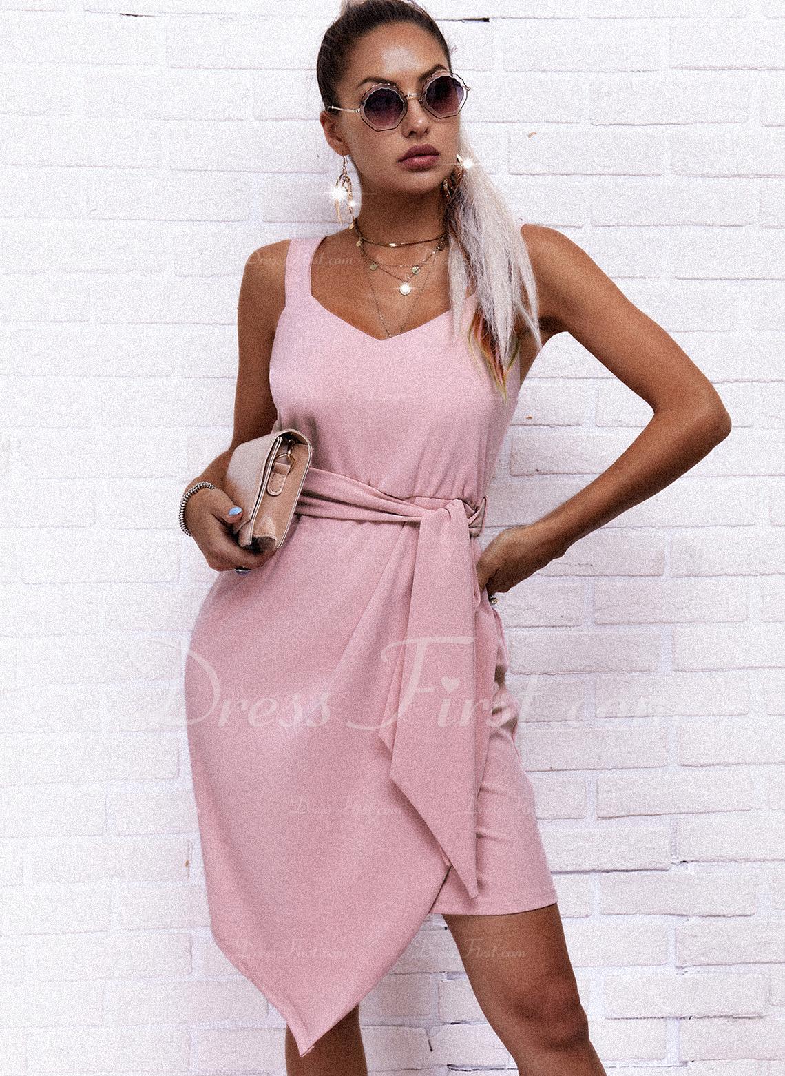 Sólido Cubierta Sin mangas Mini Elegante Tipo Vestidos de moda
