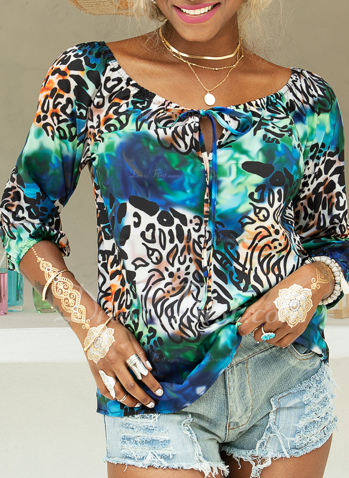 Leopard Long Sleeves Polyester Off the Shoulder Blouses