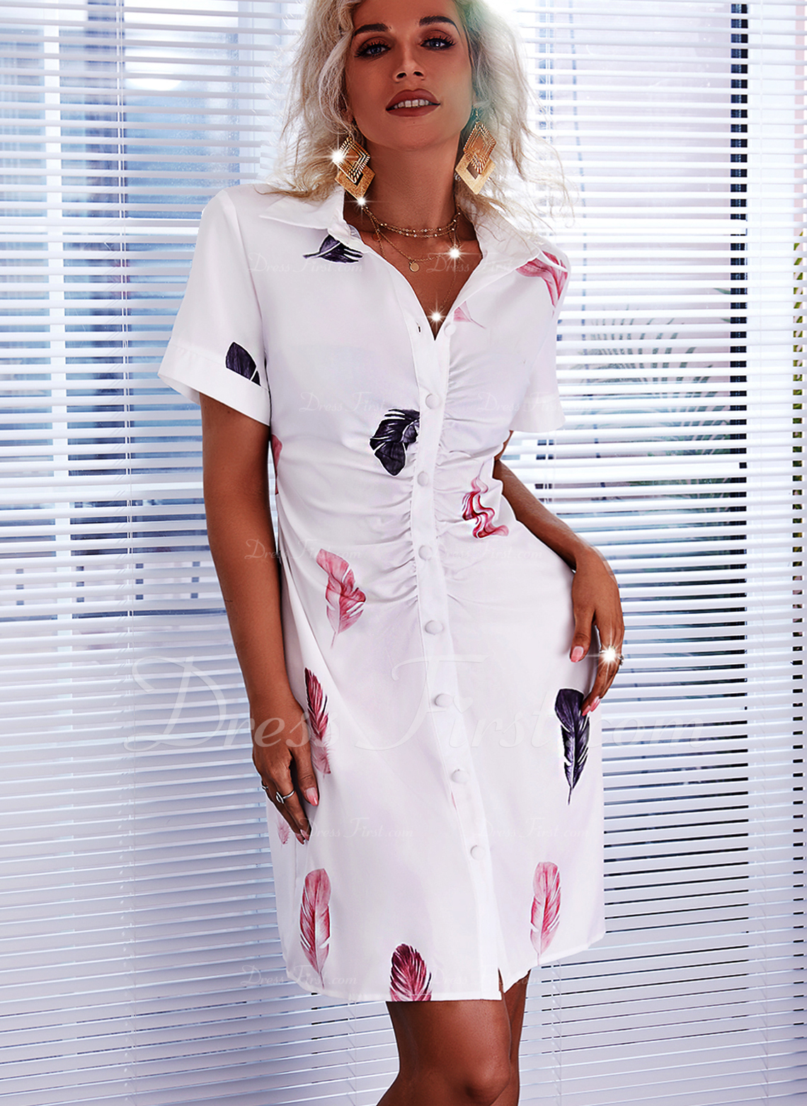 Druck Etui Kurze Ärmel Mini Lässige Kleidung Hemdkleider Modekleider