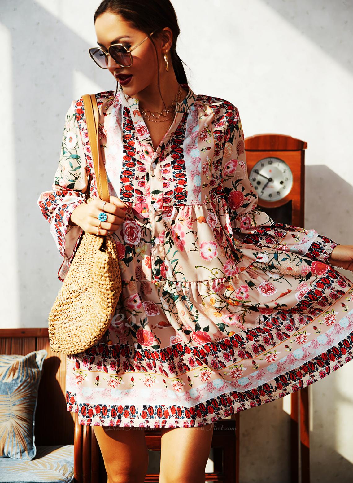 Stampa Abiti dritti 3/4 maniche Flare Sleeve Mini Casuale Vacanza Tunica Vestiti di moda