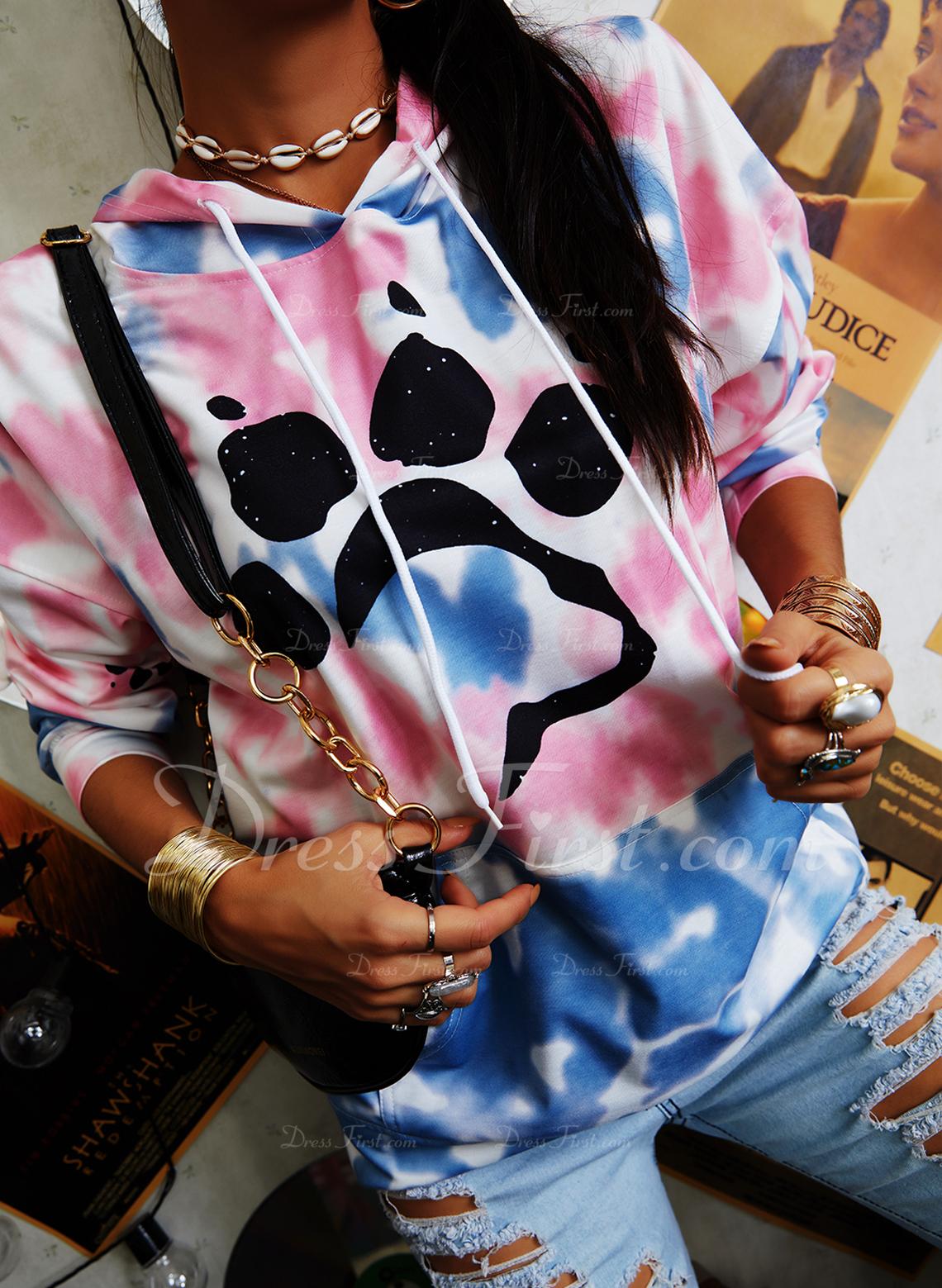 Animal Print Tie Dye Long Sleeves Hoodie