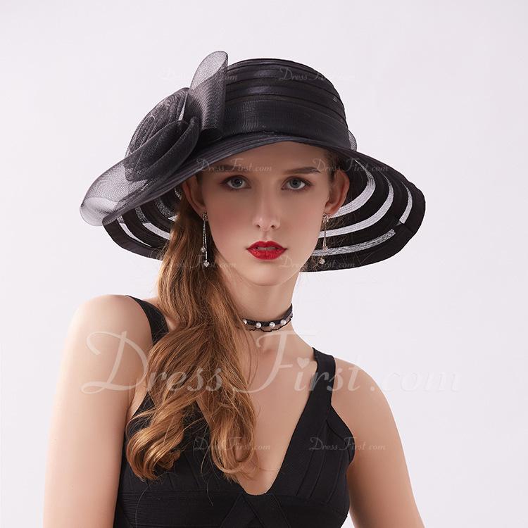 Señoras' Estilo clásico/Pretty Satén con Flor Sombreros Playa / Sol/Derby Kentucky Sombreros/Sombreros Tea Party