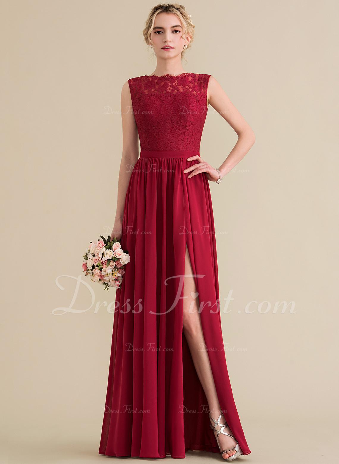 5968c03ec48 Loading zoom. Loading. Color  Burgundy. A-Line Princess Scoop Neck Floor-Length  Chiffon Lace Bridesmaid Dress With Split Front ...