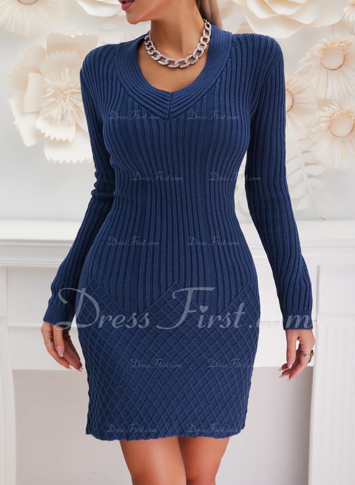 Solid Långa ärmar Fritids Lång Tät Tröja klänning Modeklänningar