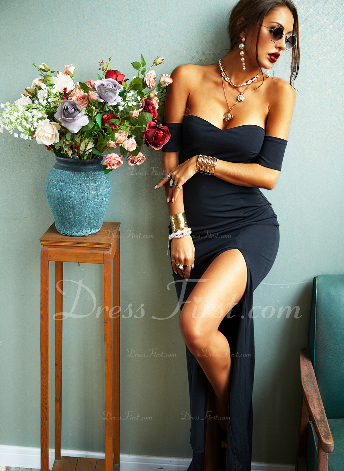 Solid Sheath Short Sleeves Maxi Little Black Party Sexy Dresses