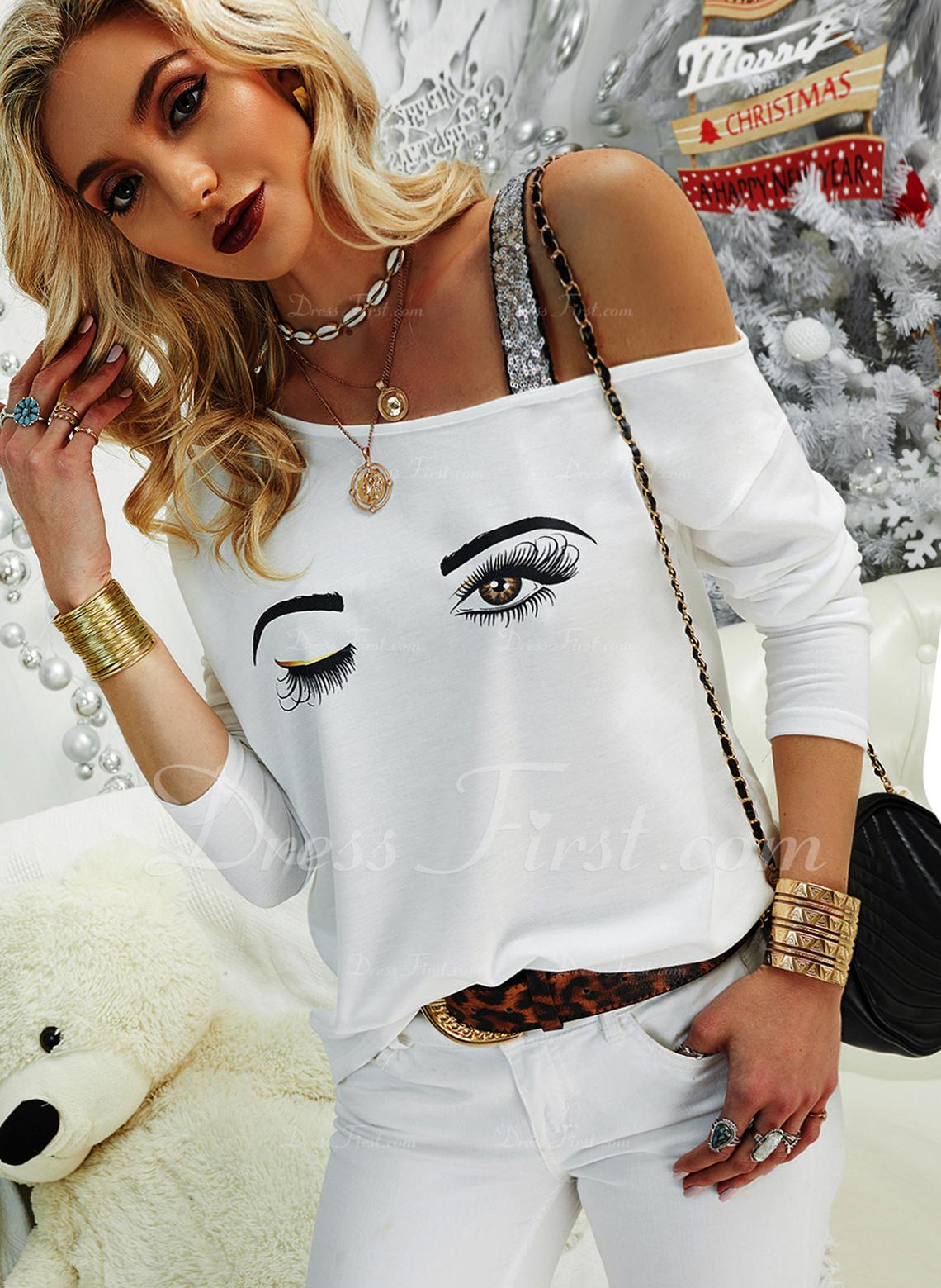 Druck Pailletten Eine-Schulter Lange Ärmel Lässige Kleidung Blusen