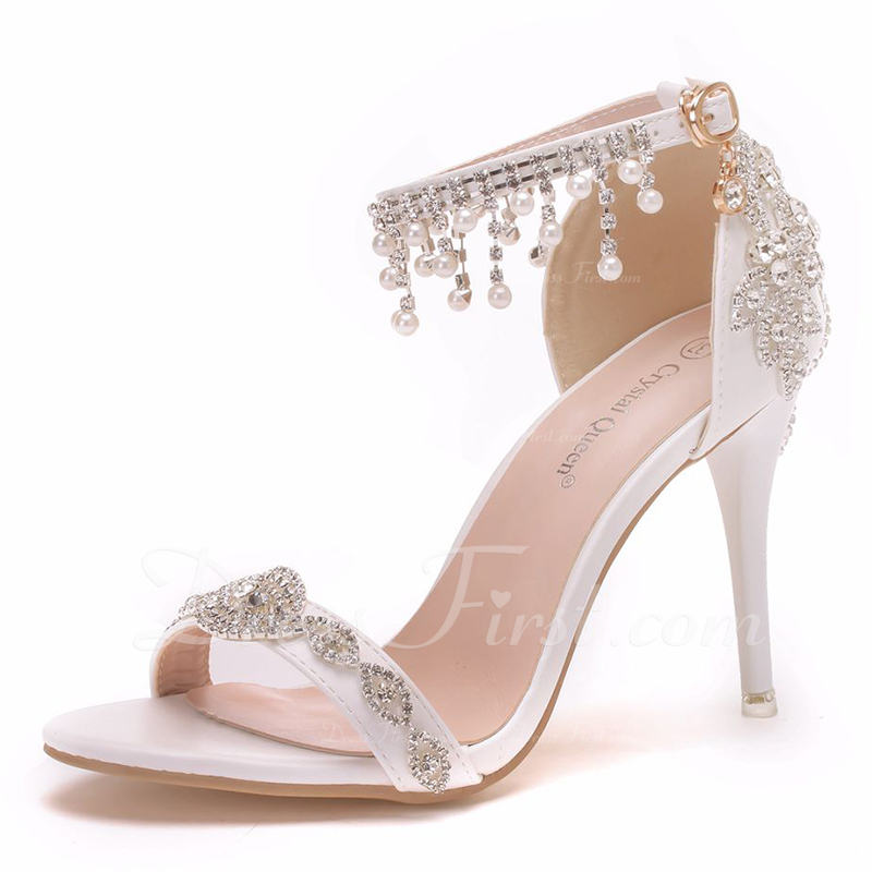 Women's Leatherette Stiletto Heel Peep Toe Sandals With Buckle Rhinestone