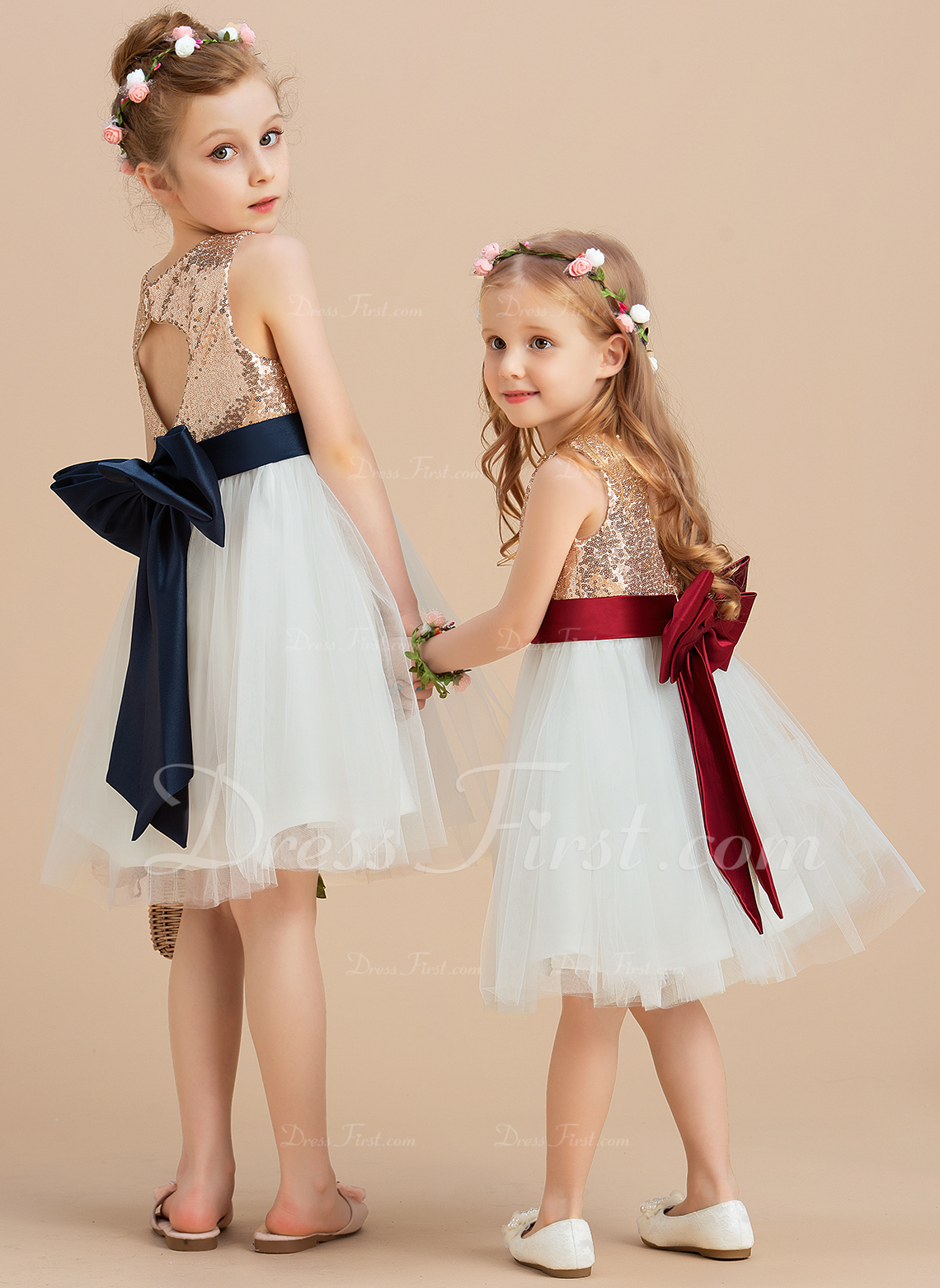 A-Line/Princess Knee-length Flower Girl Dress - Satin/Tulle/Sequined Sleeveless Scoop Neck With Sequins/Bow(s) (Undetachable sash)