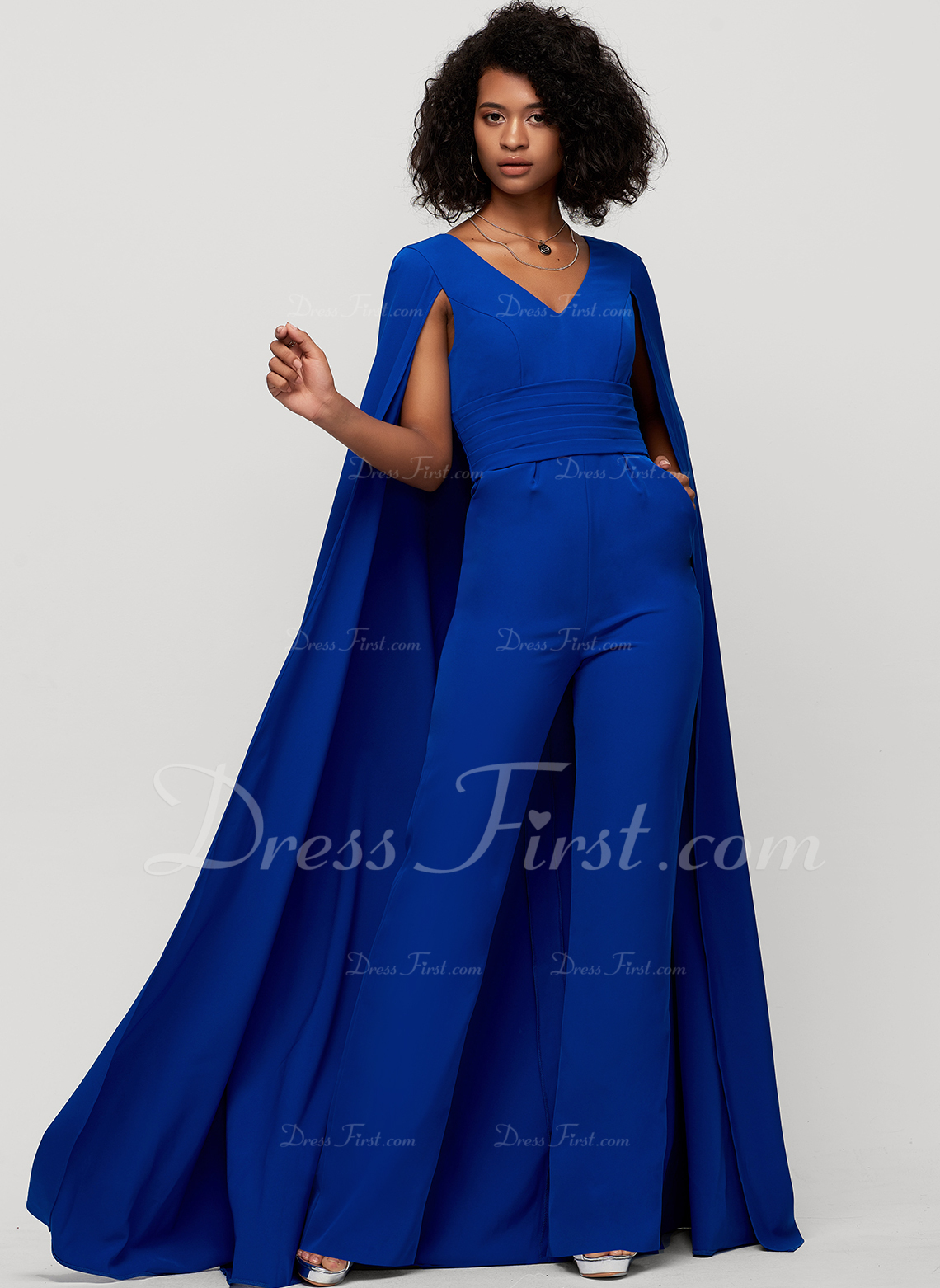 Sheath/Column V-neck Floor-Length Stretch Crepe Evening Dress
