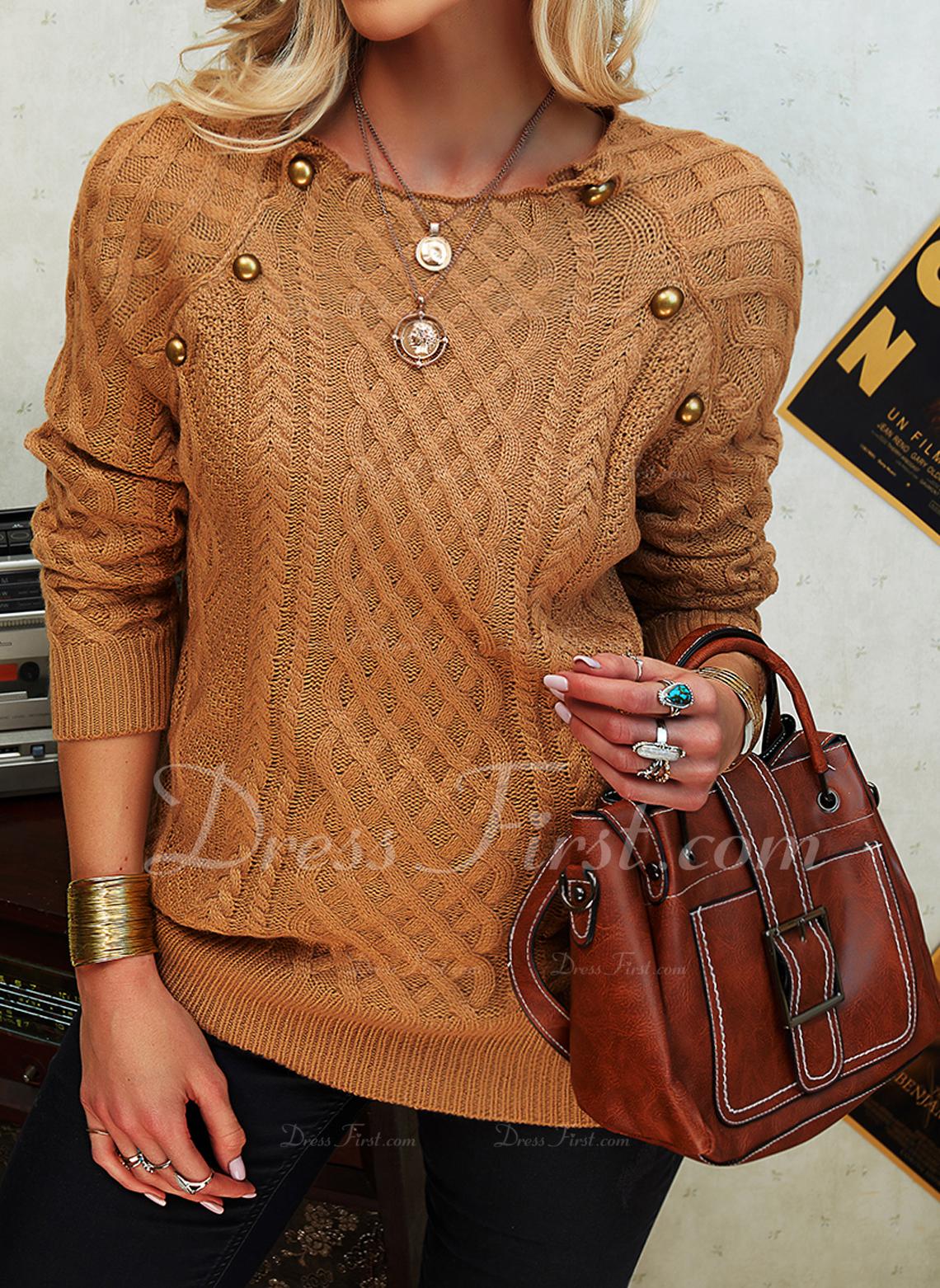 Stehkragen Lässige Kleidung Einfarbig Zopfmuster Pullover