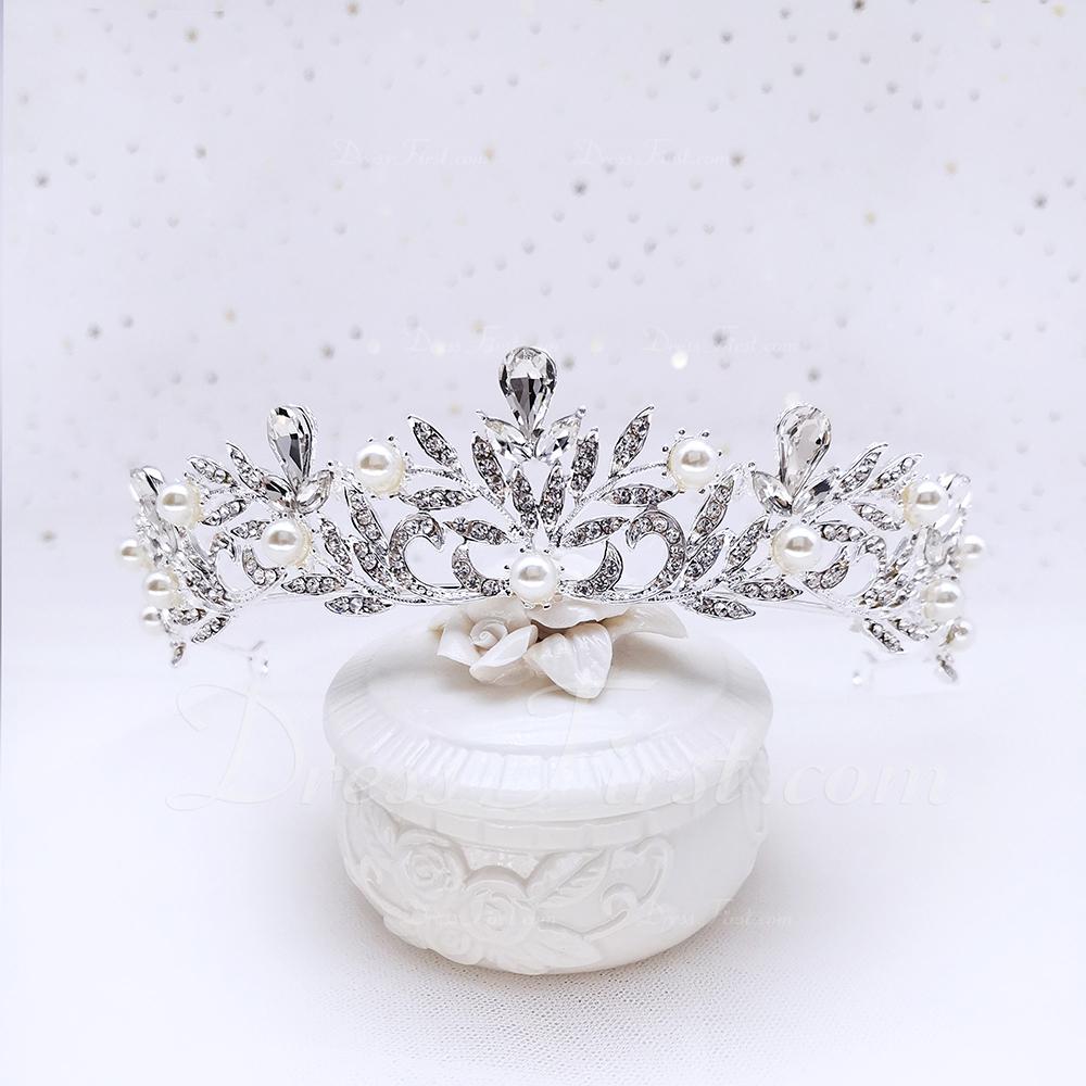 Przepiękny Stras/ Krysztal Górski/Stop Diademy Z Perła (Sprzedawane w jednym kawałku)