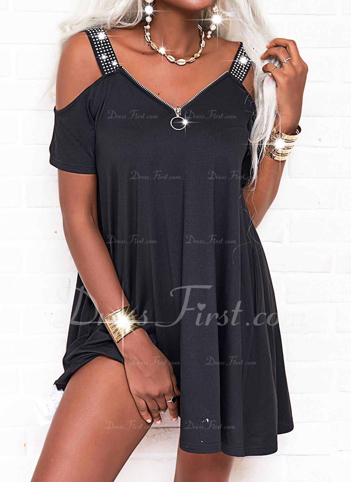 Sólido Vestidos sueltos Manga Corta Mini Pequeños Negros Casual Vestidos de moda