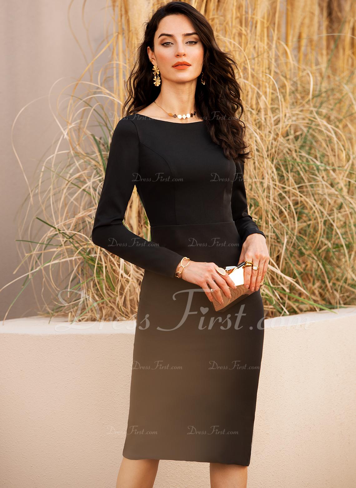 Conică Mâneci Lungi Midi Sırt Ayrıntıları Negre Parti Modern Sexy Moda Elbiseler