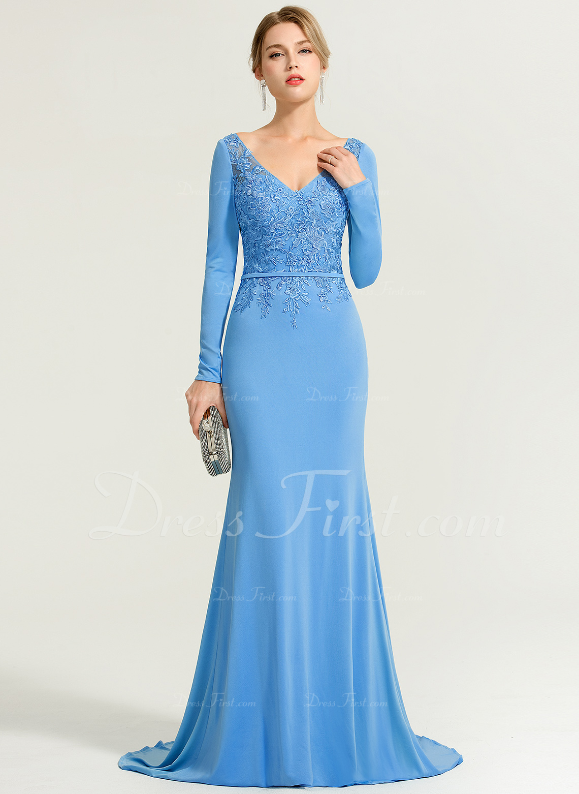 a50f7582addca Loading zoom. Loading. Color: As Picture. Trumpet/Mermaid V-neck Sweep  Train Jersey Evening Dress ...