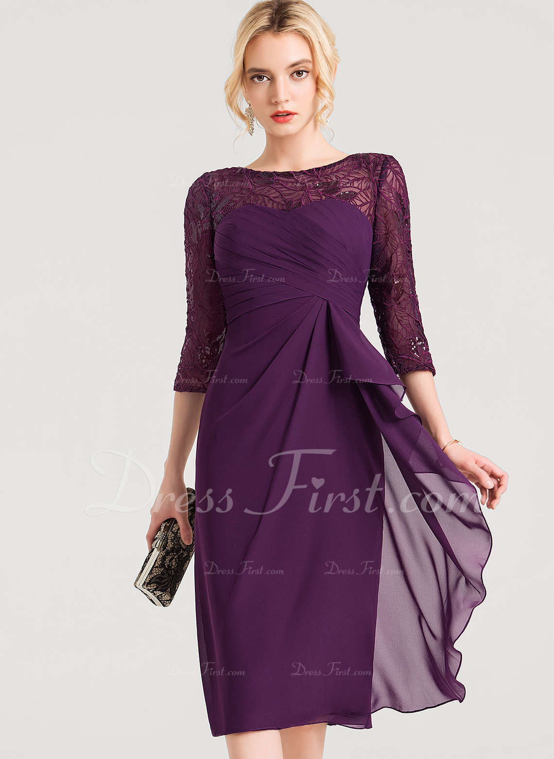 Sheath/Column Scoop Neck Knee-Length Chiffon Cocktail Dress With Lace Sequins Cascading Ruffles