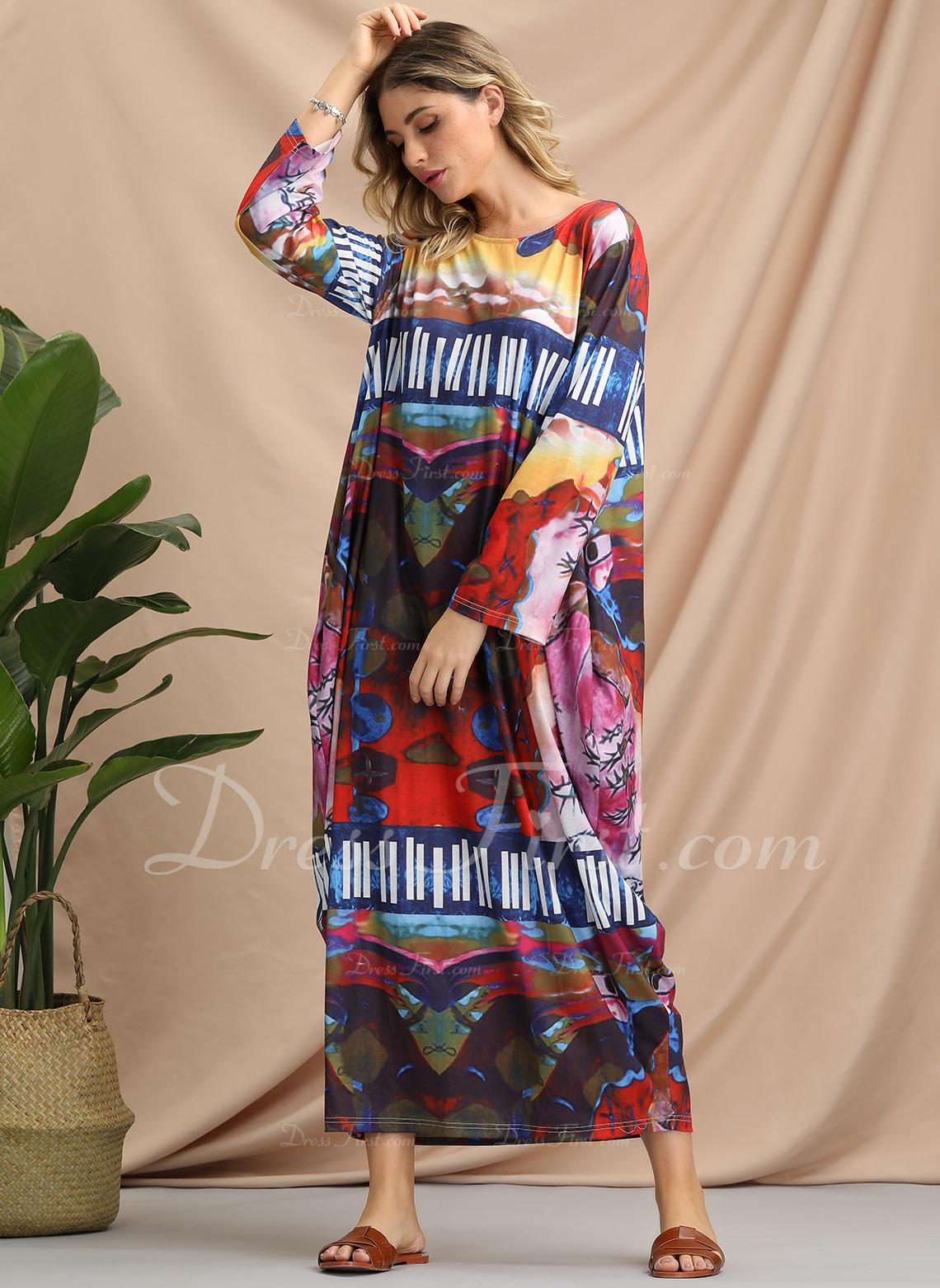 Druk Geometryczny Nadruk Suknie shift Rękawy 3/4 Maxi Boho Nieformalny Modne Suknie
